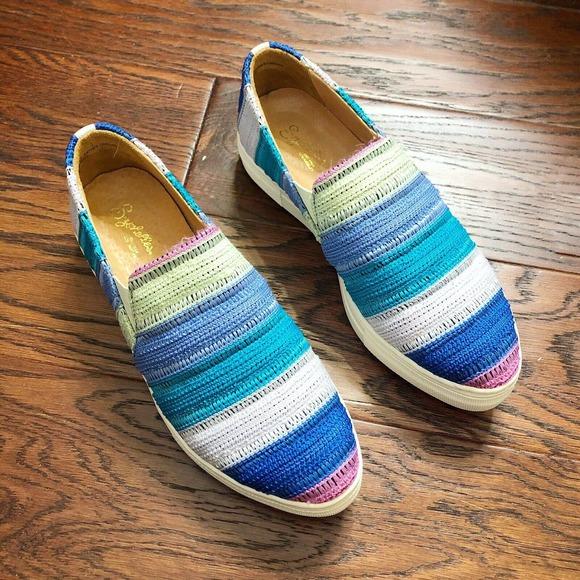Seychelles Woven Blue Stripe Platform Sneakers